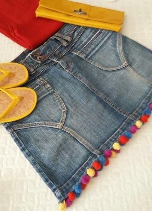 cb6d4e440b Falda vaquera pompones Only jeans