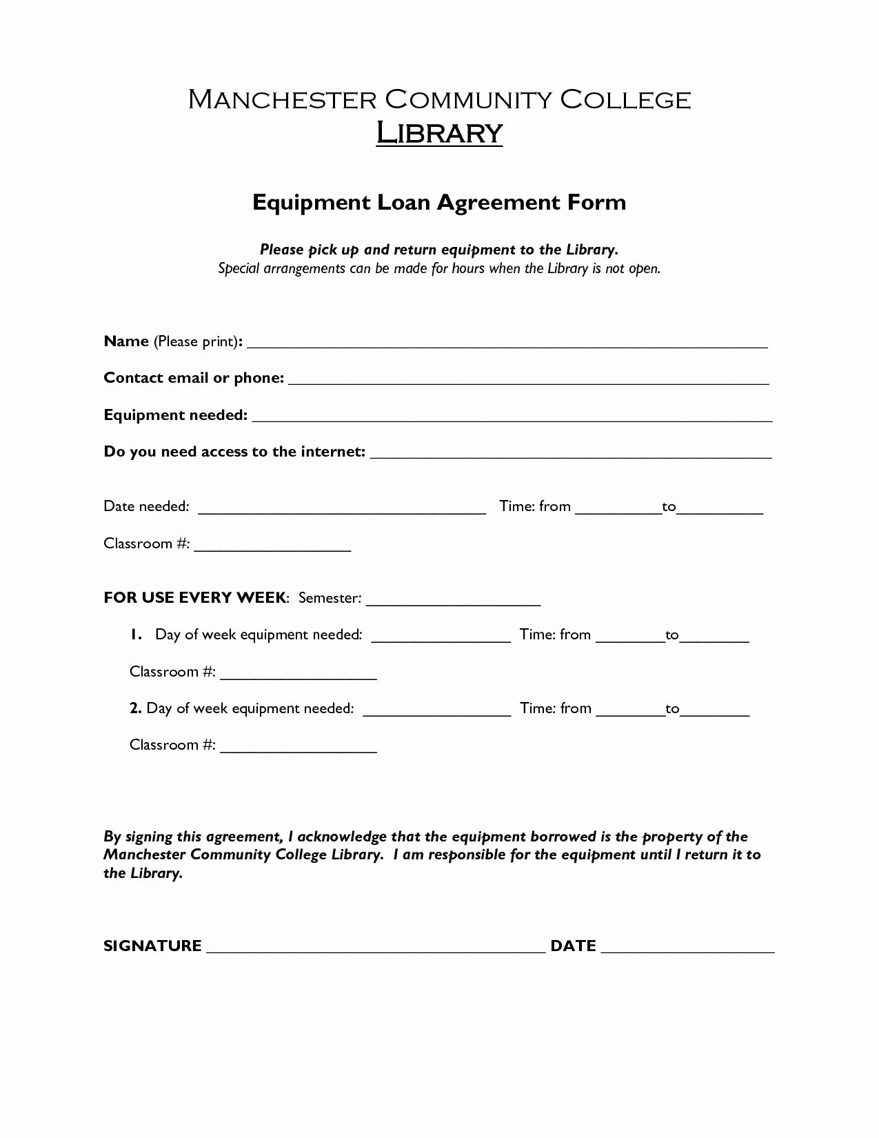 Company Equipment Use And Return Policy Agreement Elegant Printable Sample Loan Agreement Form Form Contract Template Words Free Basic Templates