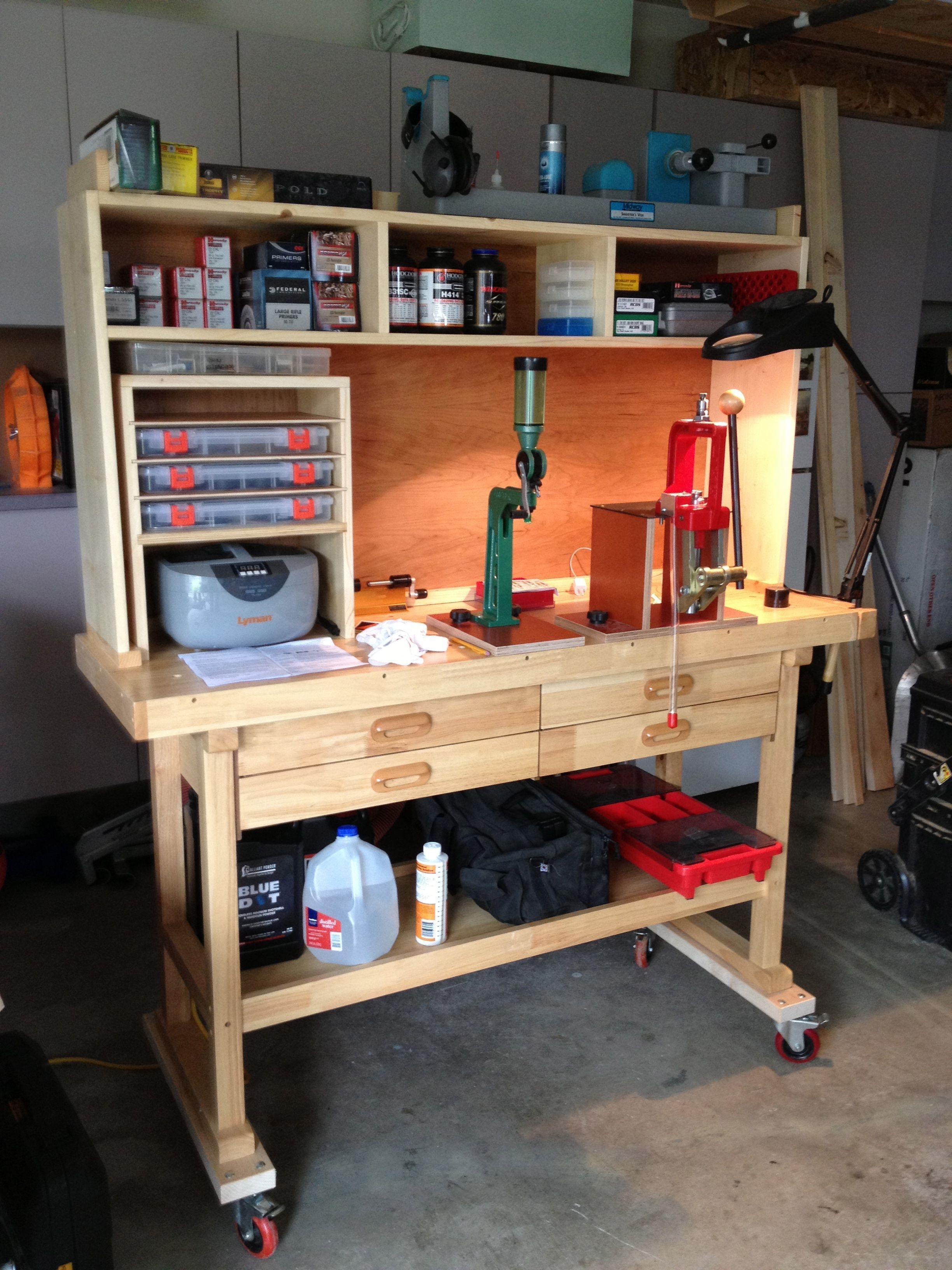This Is A Harbor Freight Woodworking Bench I Had Purchased For 135 00 Then I Added The Castors And Shelving Reloading Bench Woodworking Bench Reloading Table