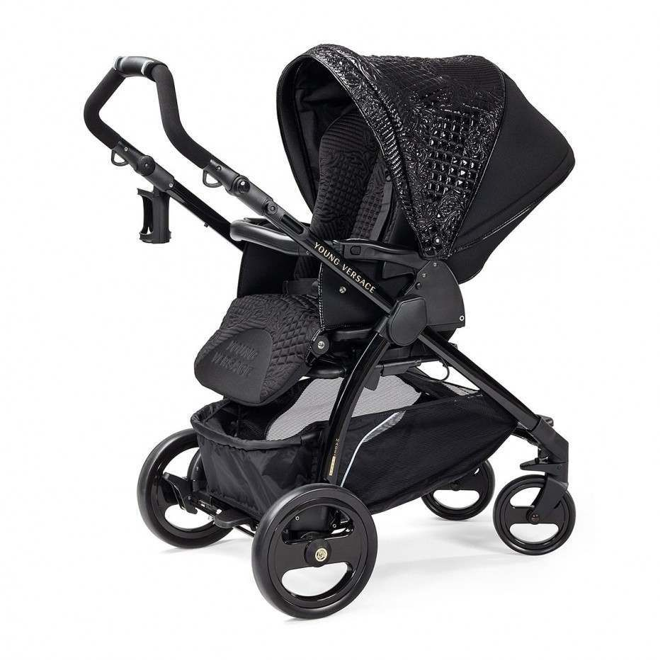 Young Versace Baby White Stroller And Travel Set Young Versace Baby Black Stroller Travel Set 4 Piece
