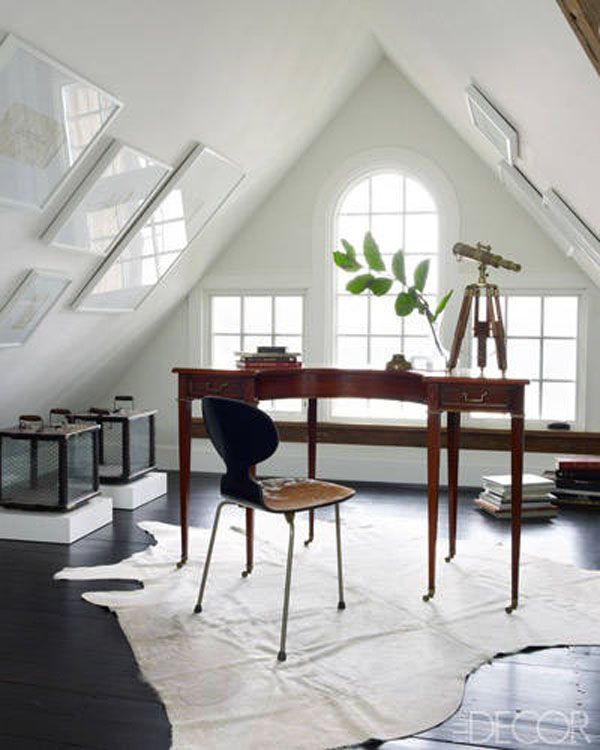 Awesome 37 Stylish Attic Home Office Design Ideas : Simple White ...