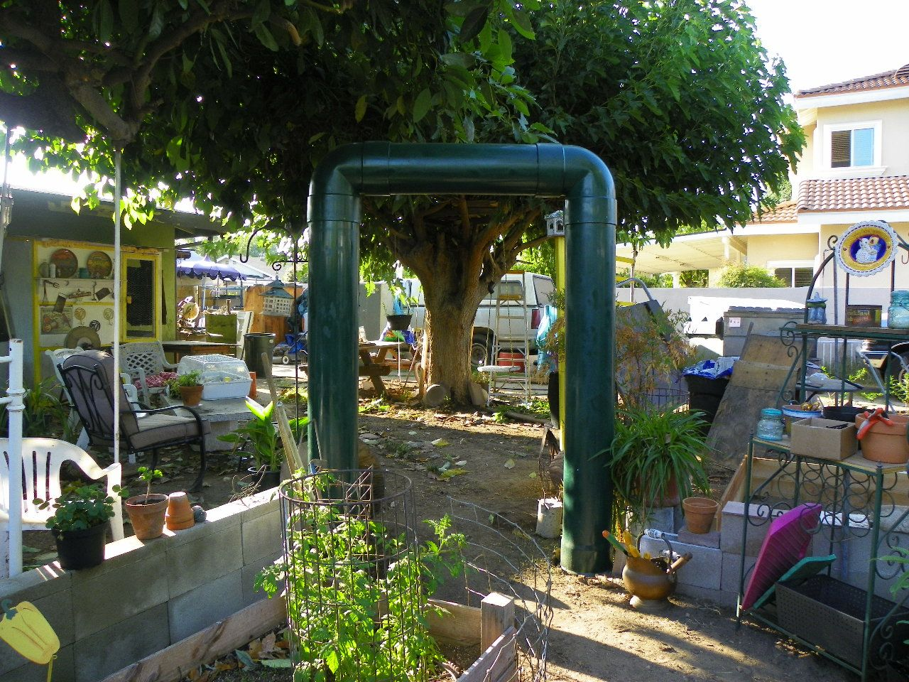 The arch we use to enter the garden is made out of heavy duty PVC pipes & The arch we use to enter the garden is made out of heavy duty PVC ...