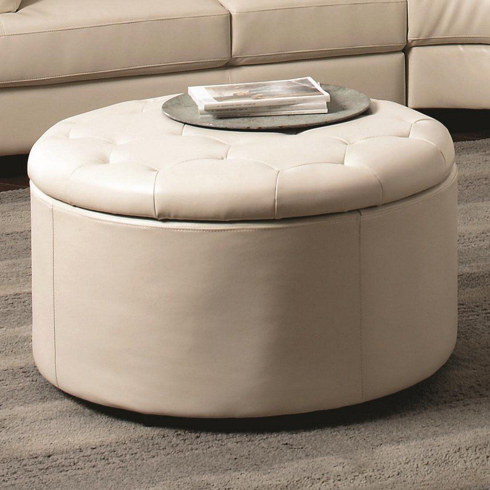 Furniture: Small Round Coffee Table With Storage Have Large Space Inside  Table Ottoman Multifunction Table
