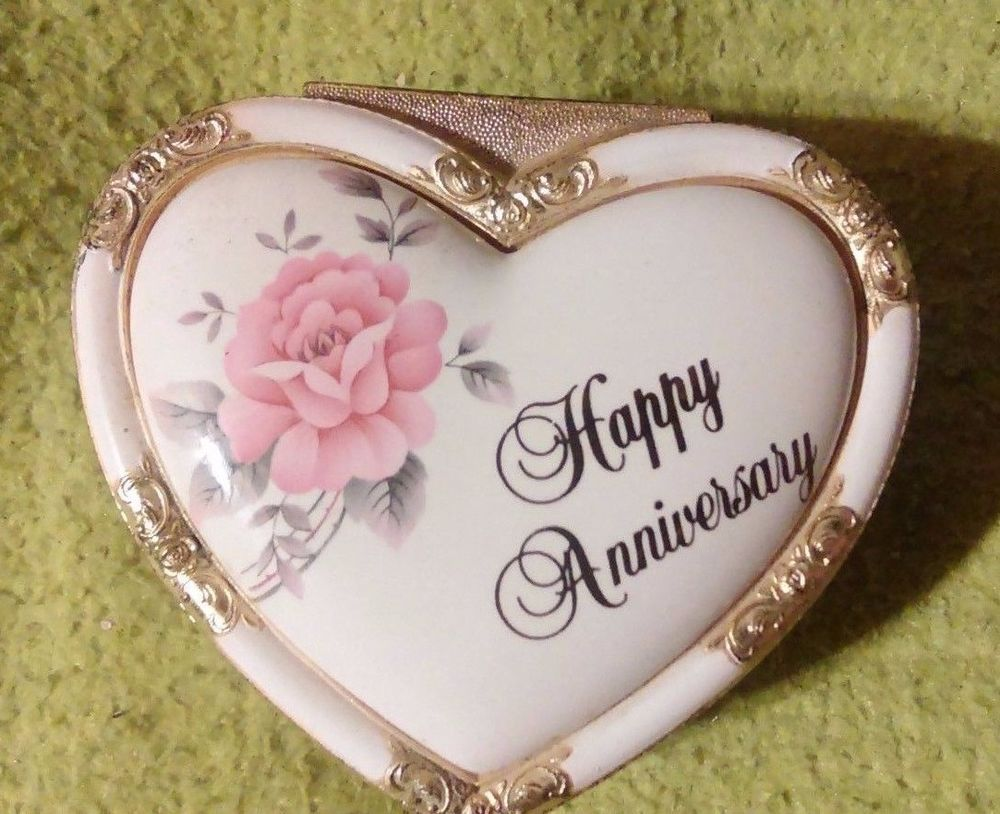 WILLETTS  Jewelry Music box Floral Happy Anniversary Japan Heart Shaped