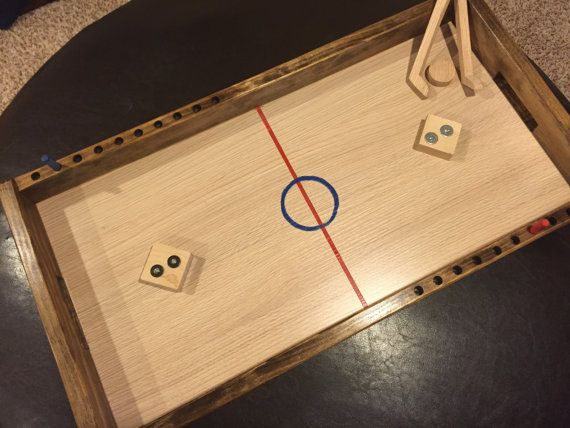 Wooden Knock Hockey Table Wood Games Wooden Games Outdoor Wood
