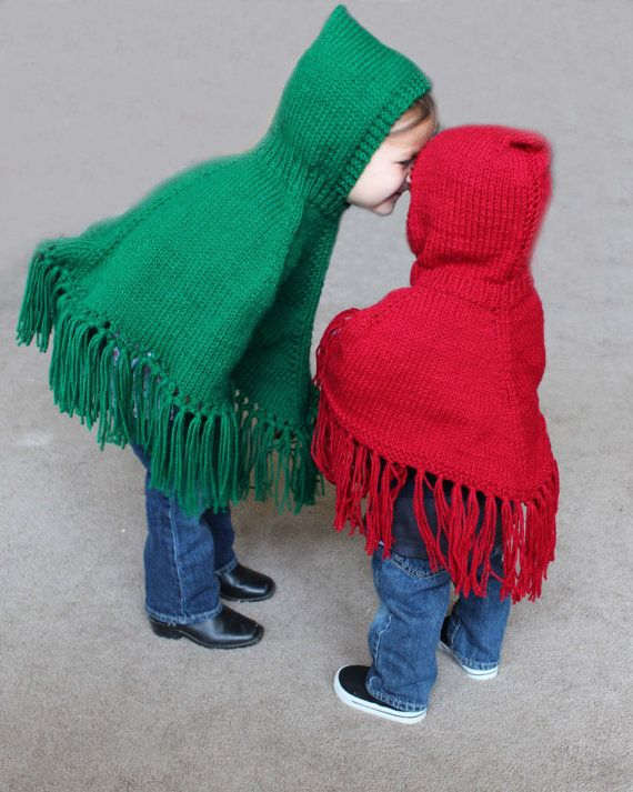 Pattern For Knitted Hooded Childrens Ponchos Pdf Pattern