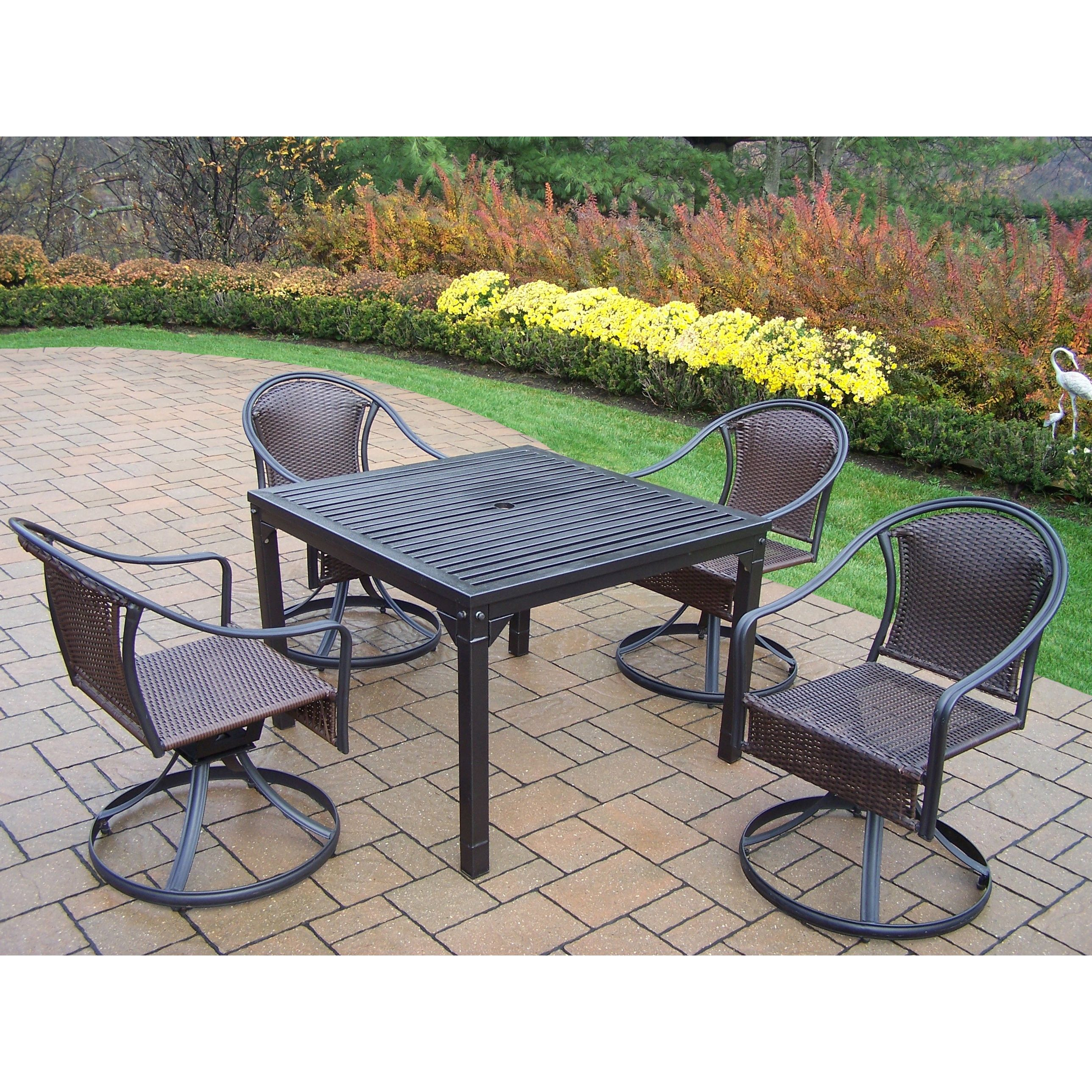 Oakland Living Corporation Hometown Outdoor Dining Set With 4 Wicker