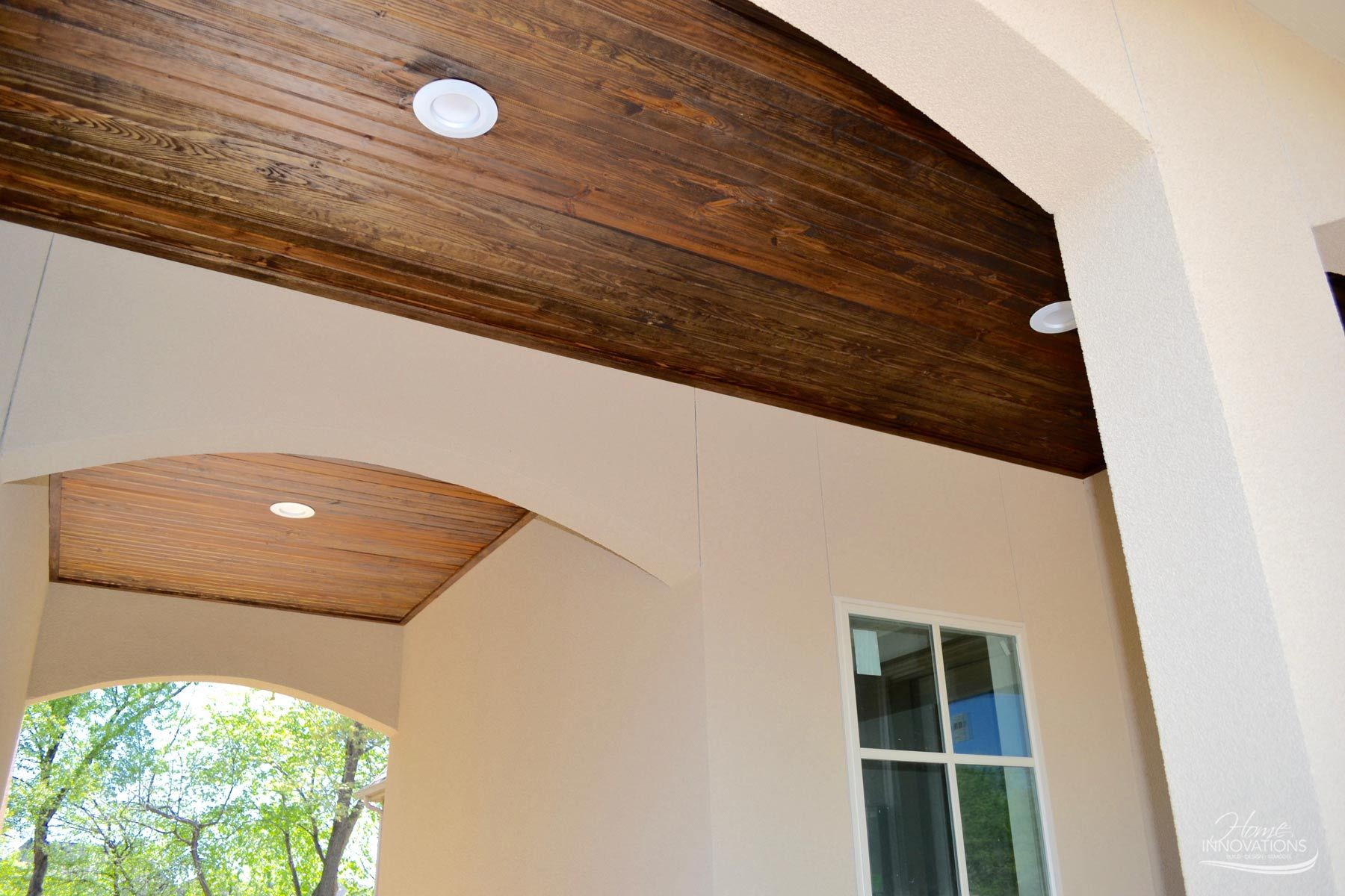 Tongue And Groove Ceiling With Recessed Lighting In Outdoor Breezeway Bar Ceilings New Home Construction Home Construction