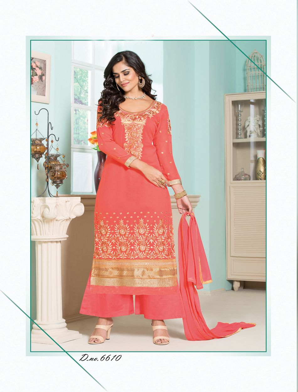 29914ce587a7 Thankar Latest Designer Heavy Peach Embroidery Straight Suit ...
