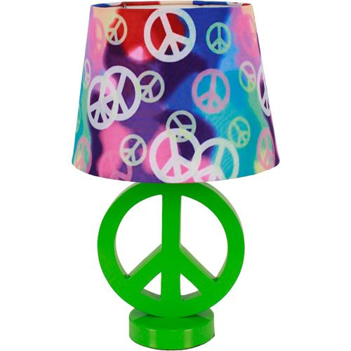 Your Zone Green Peace Sign Table Lamp with Rainbow Peace Shade. Your Zone Green Peace Sign Table Lamp with Rainbow Peace Shade