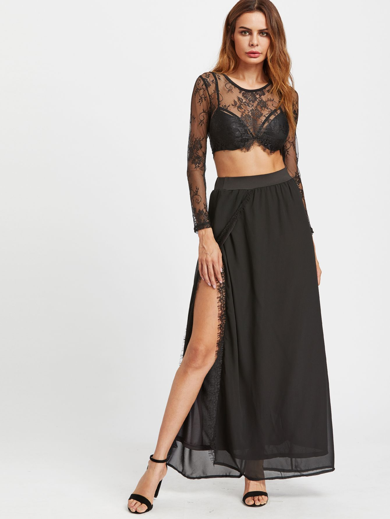 de3d6abd6b Shop Sheer Eyelash Lace Crop Top With Slit Side Skirt online. SheIn offers  Sheer Eyelash Lace Crop Top With Slit Side Skirt & more to fit your  fashionable ...