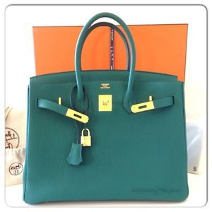 fecc7e2228c2 Authentic NIB Hermes Malachite Togo Birkin bag 35cm gold hardware