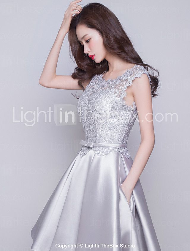 Knee-length Satin Bridesmaid Dress - Ball Gown Jewel with Lace / Pockets 2017 - $100.09
