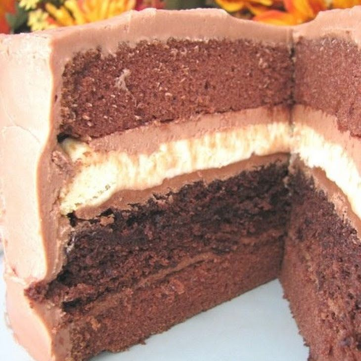 Double Chocolate Cheesecake Layered Cake Recipe Desserts with cream