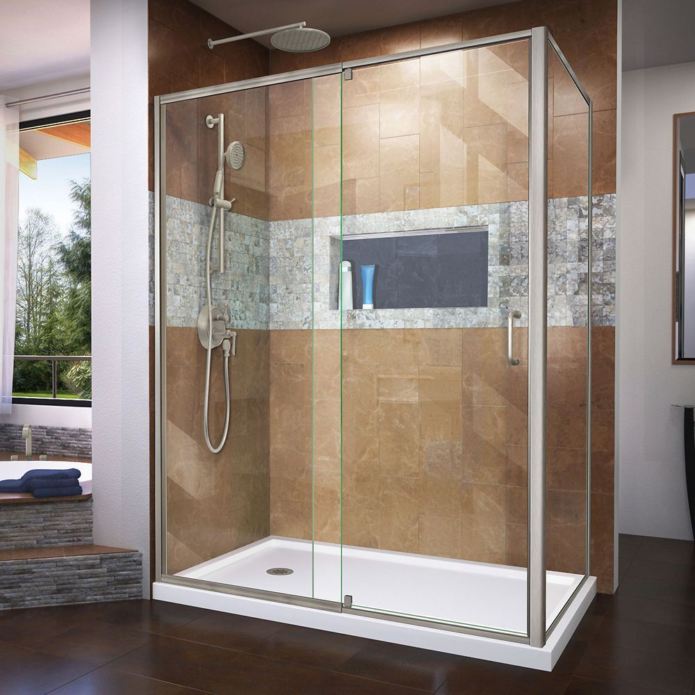Flex 36 Inch D X 60 Inch W Shower Enclosure In Brushed Nickel With