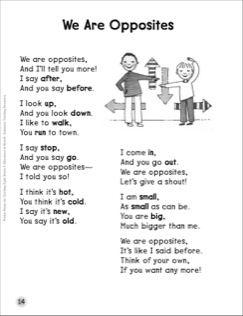 We Are Opposites (Antonyms): Sight Words Poem | OK