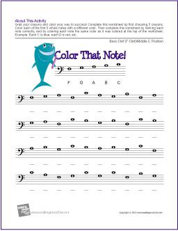 Color That Note! Note Name Worksheet (Bass Clef Middle