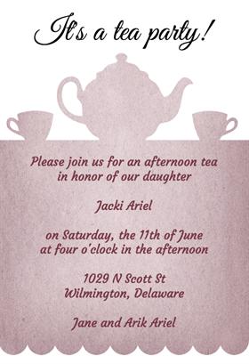 Tea Party Free Printable Bridal Shower Invitation Template