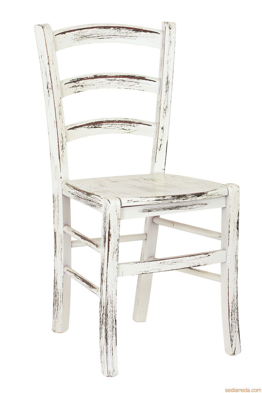 Sedie Di Legno Rustiche.110 Scratch Sedia In Legno Laccato Bianco Con Finitura Graffiato