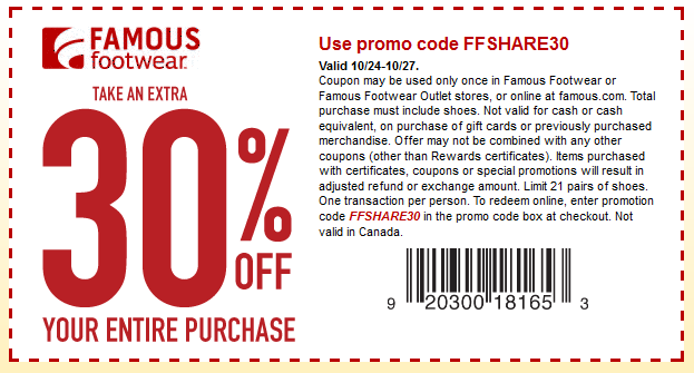 Extra 30 Off At Famous Footwear Or Online Via Promo Code Ffshare30 Coupon Apps Coupons Promo Codes