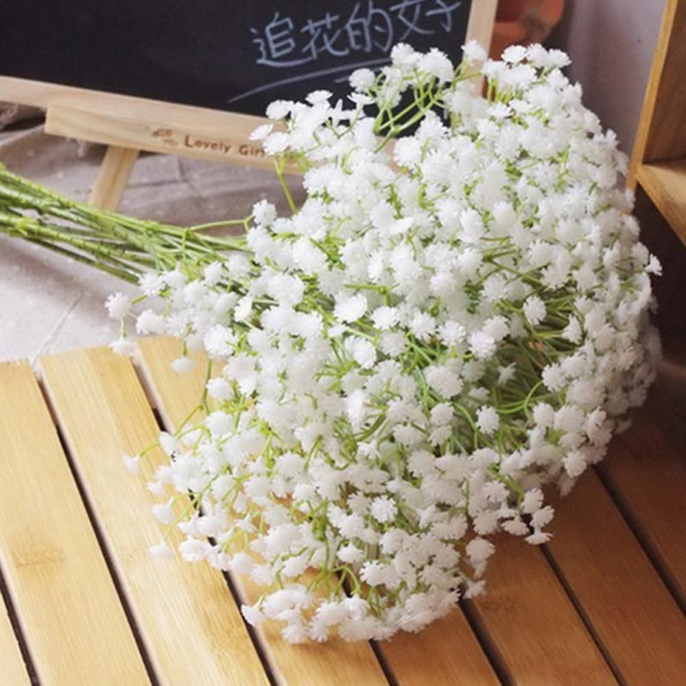 Wholesale-6Pcs White Baby Breath Artificial Flowers for