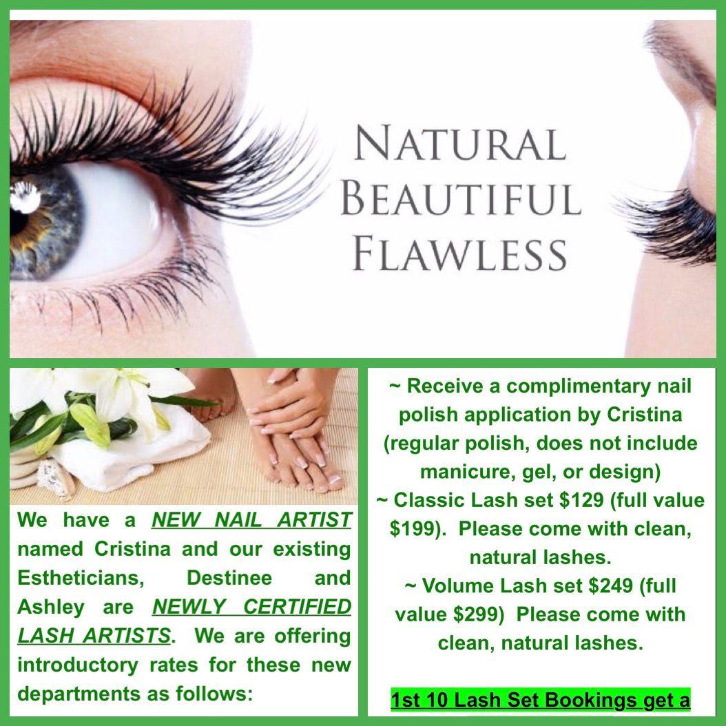 Natural Nail and Lash Extension Promo. 1st 10 Lash