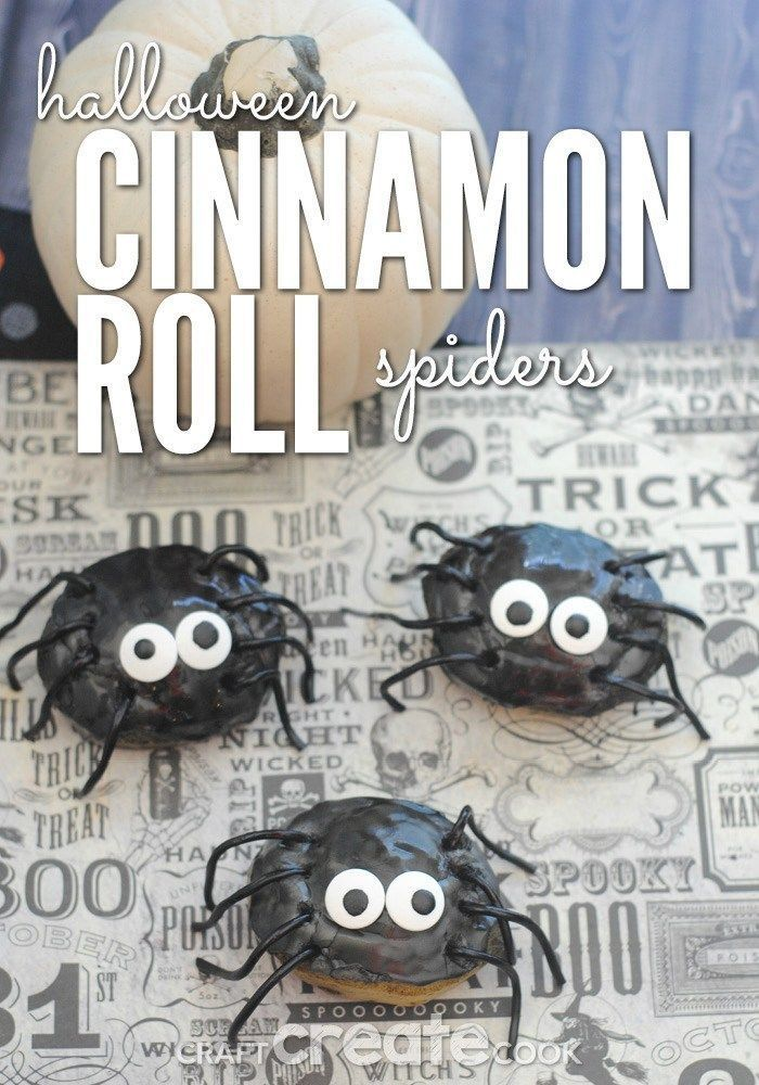 Cinnamon Roll Spiders #halloweenbreakfastforkids These Cinnamon Roll Spiders will be a hit for a fun Halloween breakfast or brunch! Adults and kids both will love how festive these cinnamon roll spiders are! Try making your own fun Halloween breakfast or dessert this holiday! #craftcreatecook #cinnamonrolls #dessert #breakfast #Halloween #spiders #halloweenbreakfastforkids Cinnamon Roll Spiders #halloweenbreakfastforkids These Cinnamon Roll Spiders will be a hit for a fun Halloween breakfast or #halloweenbreakfastforkids