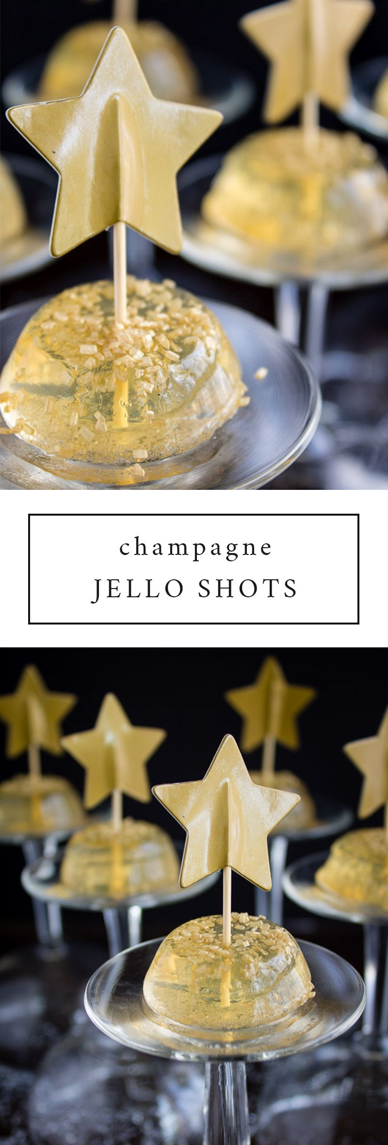 Champagne Jello Shots with Blueberries