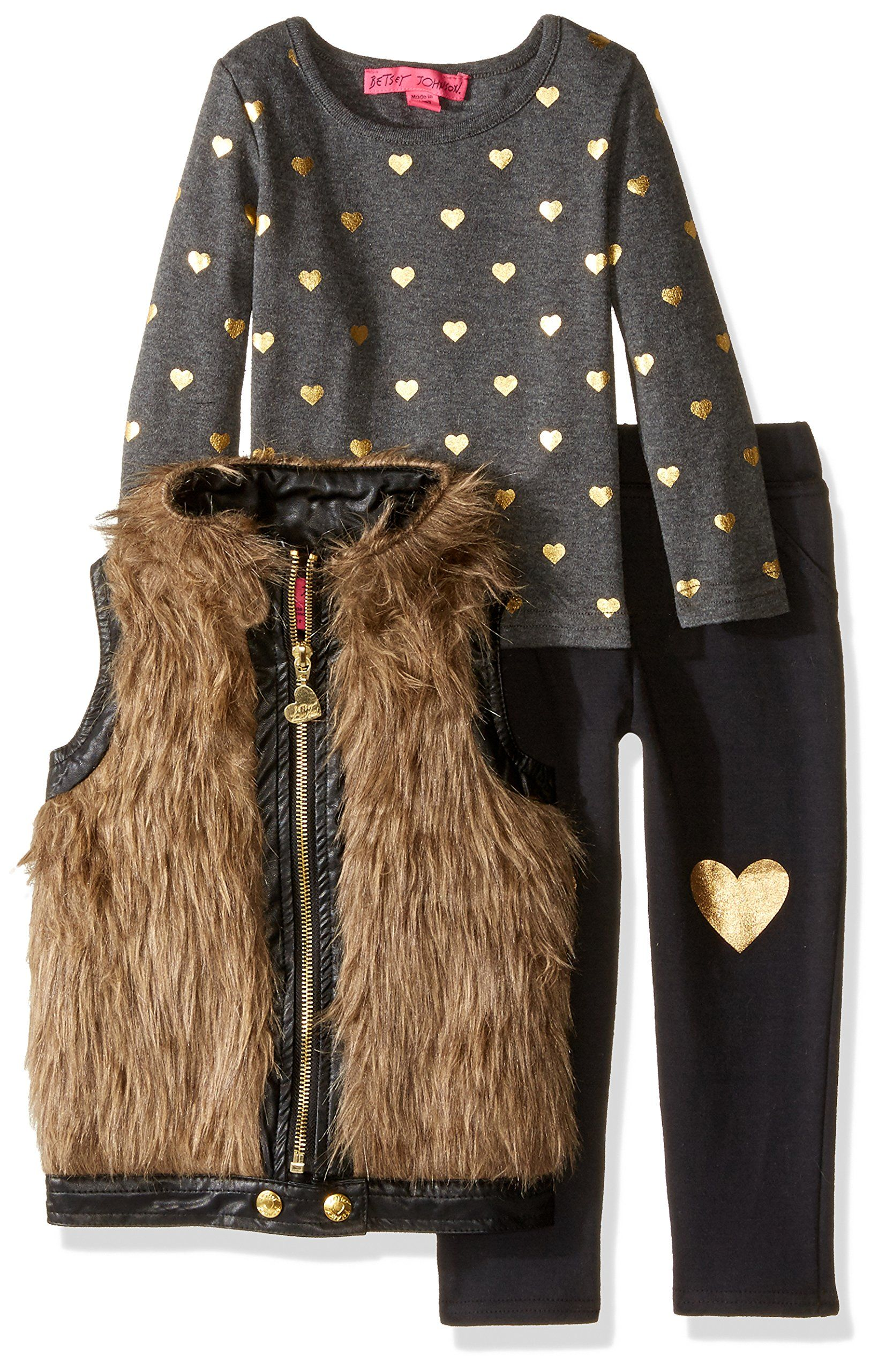 df19bc28fa2c Betsey Johnson Little Girls  Toddler 3 Piece Metallic Vest Set ...
