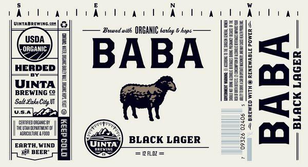Uinta Brewing Co Baba Black Lager Uinta Brewing Beer Label Design Lager