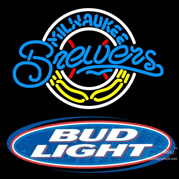 Bud Light Logo Milwaukee Brewers Mlb Real Neon Glass Tube Neon Sign