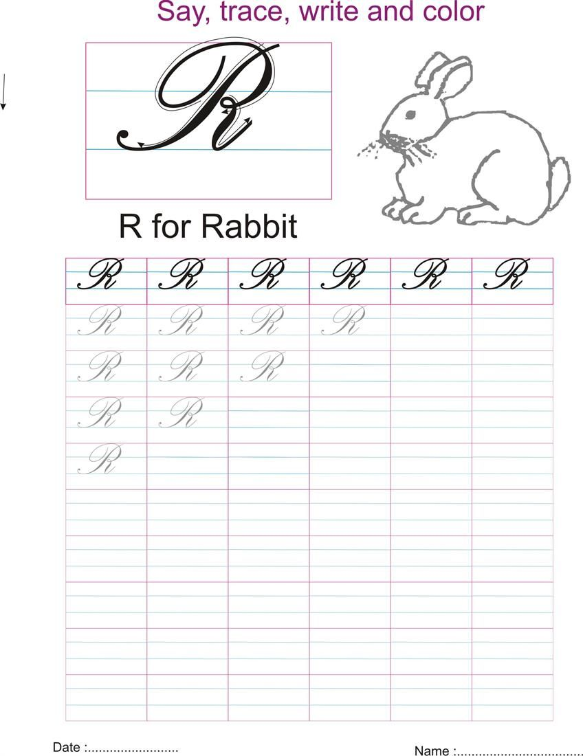 Cursive Captial Letter R Worksheet Worksheets Pinterest