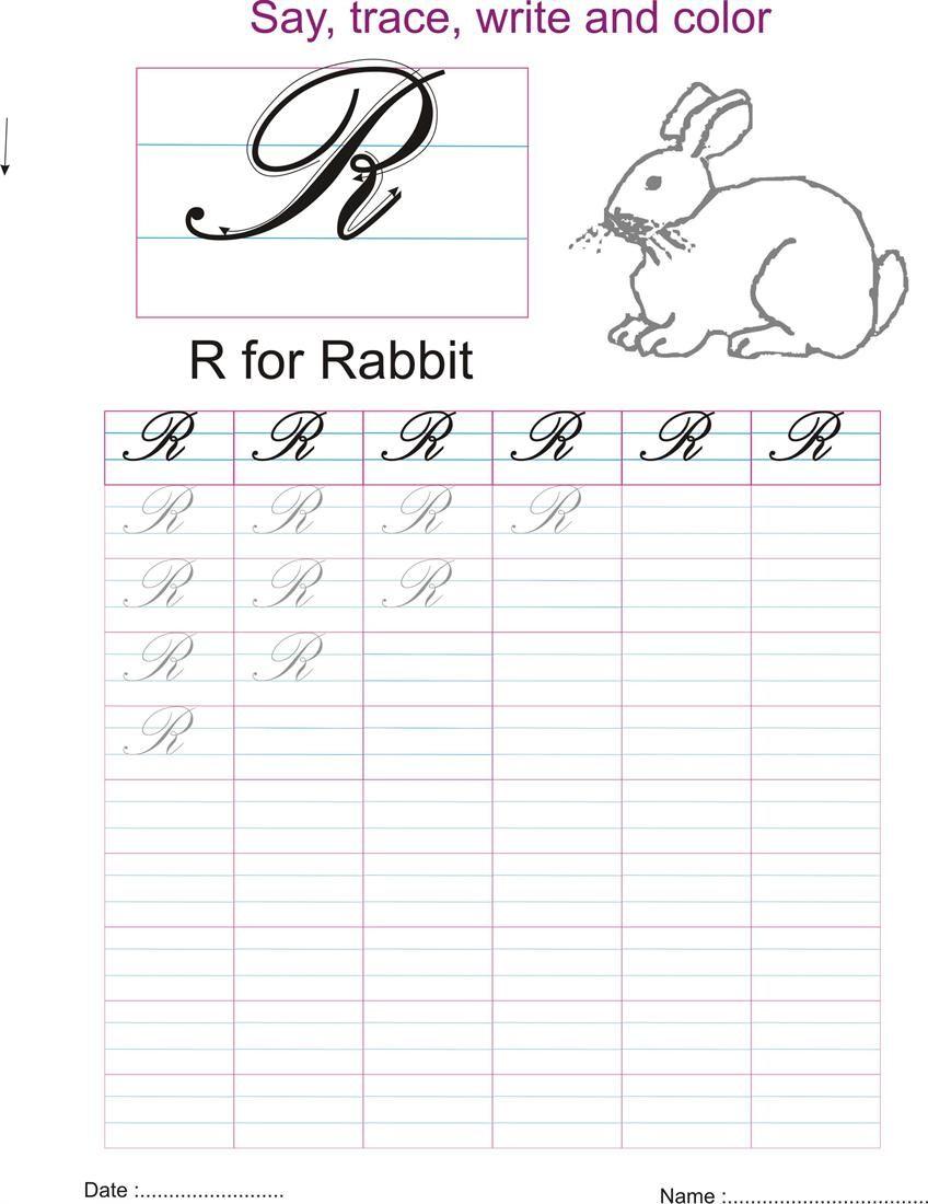 Cursive Captial Letter R Worksheet Worksheets Pinterest
