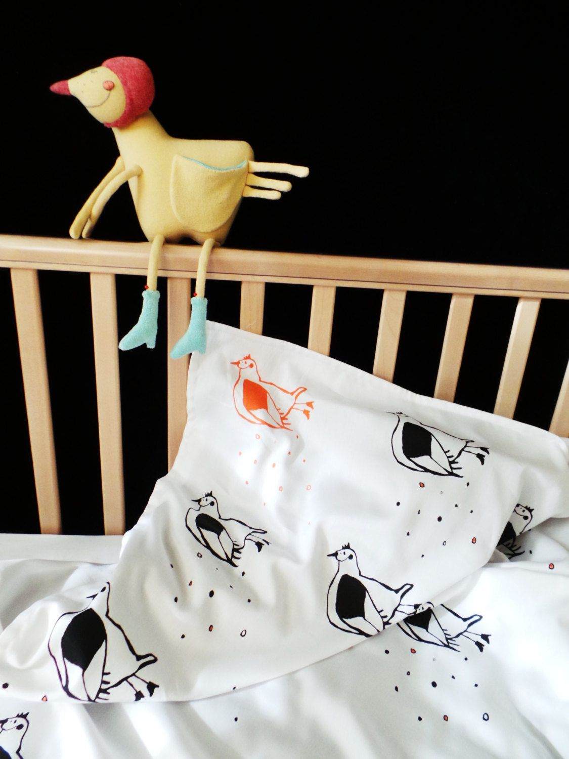 Flying Chicken Toddler And Baby Bed Linen Soft Organic Satin Screen Printed  Custom Sizes Duvet Cover
