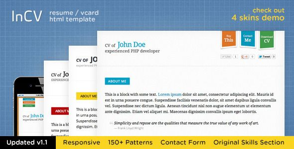 Download The Best Html Resume Cv Templates  Free Templates