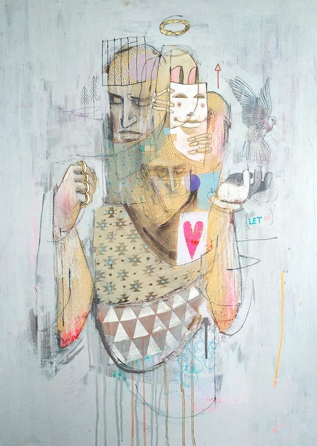 'Let Go' by Word To Mother. Find out more about Word to Mother and see more of his fabulous art at wowxwow.com (painting, figurative, narrative, graffiti, mixed media, pattern, emotion, human behaviour, human condition, new contemporary art)