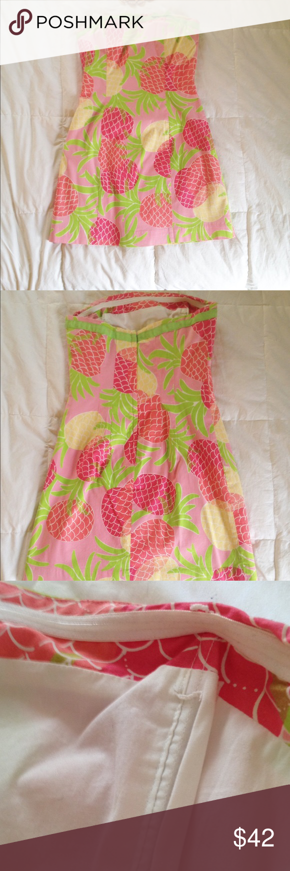 Lilly pulitzer strapless pineapple mini dress pink yellow mini lilly pulitzer strapless pineapple dress in southern hospitality the pineapple is a symbol of welcome biocorpaavc Gallery