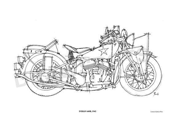 indian 640b 1942 original handmade drawing print by