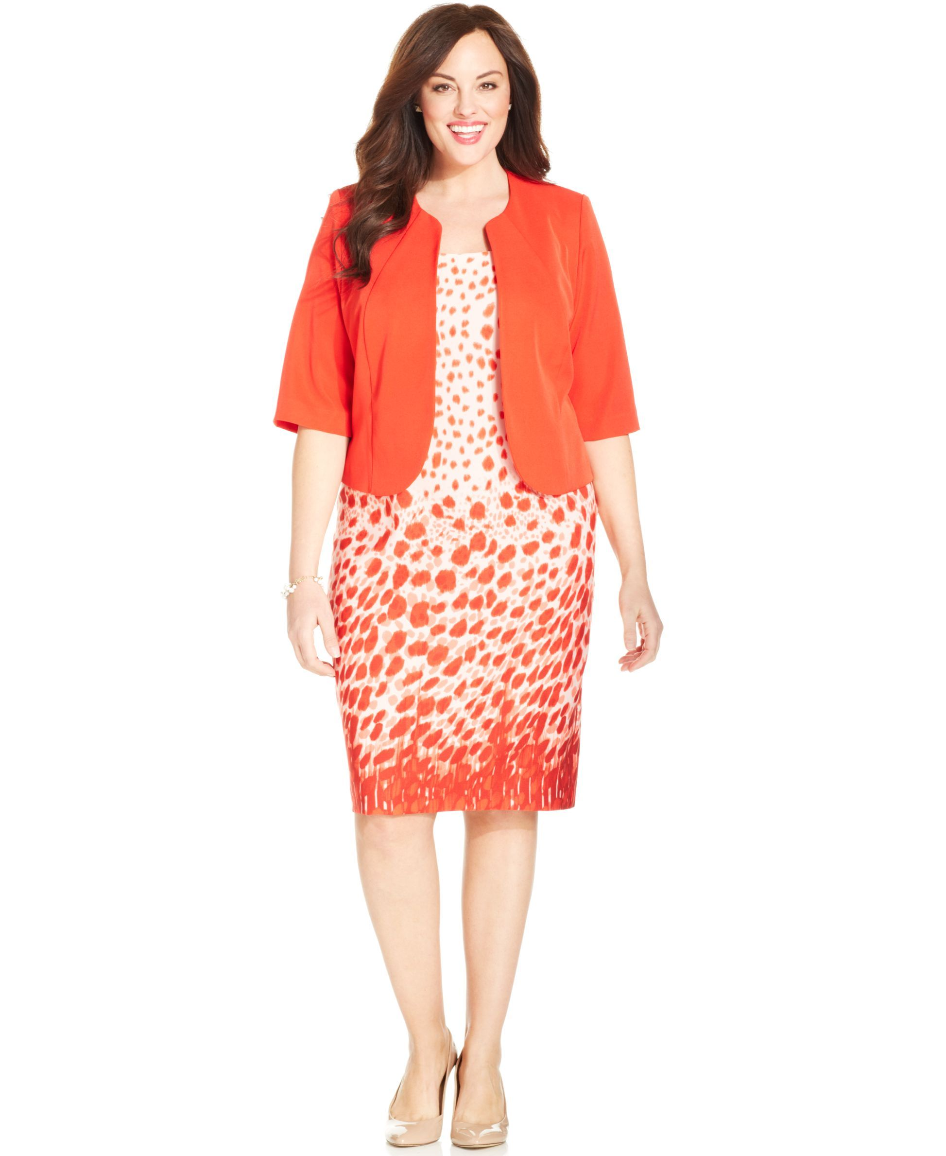 Le Bos Plus Size Printed Sheath Dress & Jacket | Products | Dresses ...