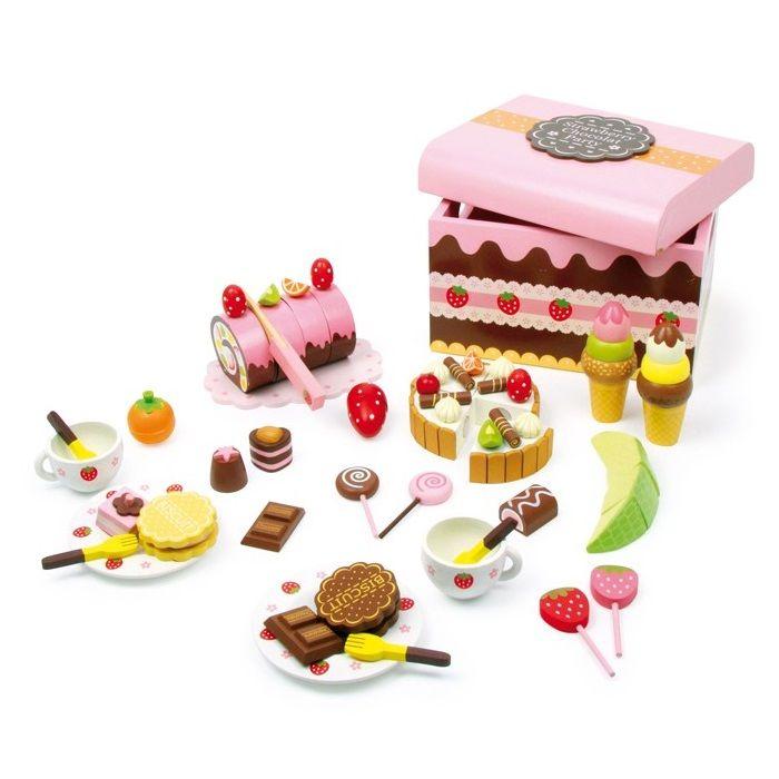 caja de dulces de madera de juguete para nios con piezas de