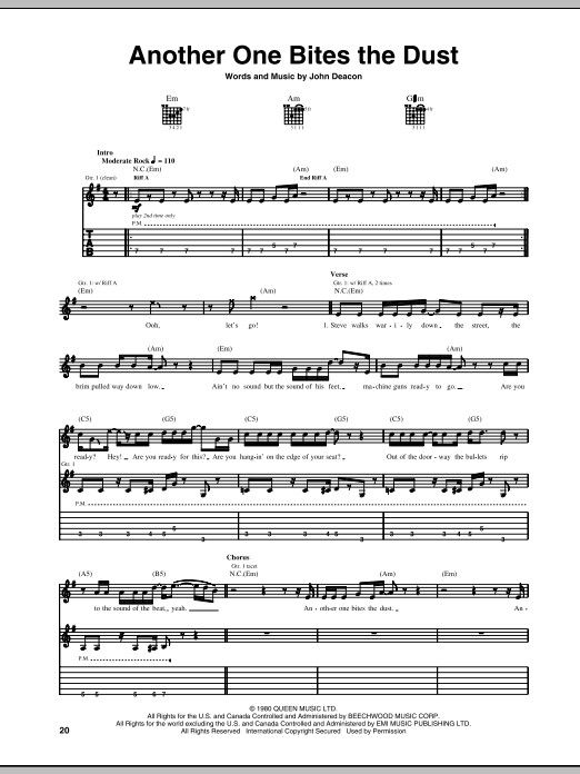Another One Bites The Dust Sheet Music Guitar Tabs Bass Tabs