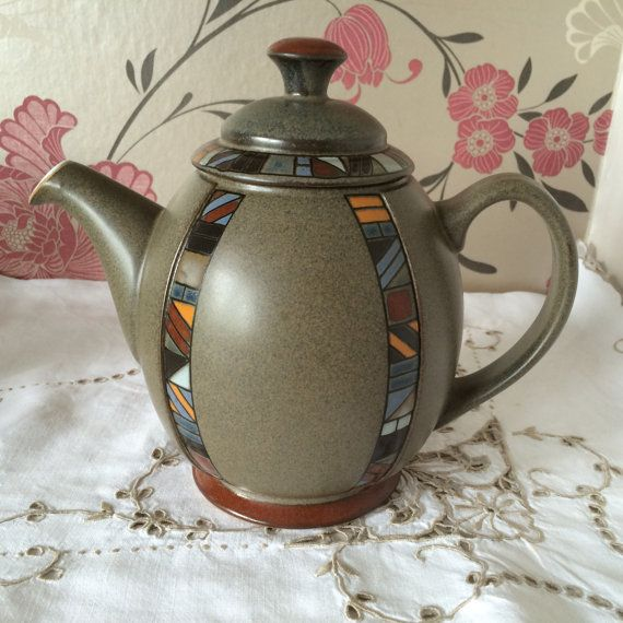 Denby, MARRAKESH Handcrafted Teapot - Holds 5-6 Cups - Striking African Pattern