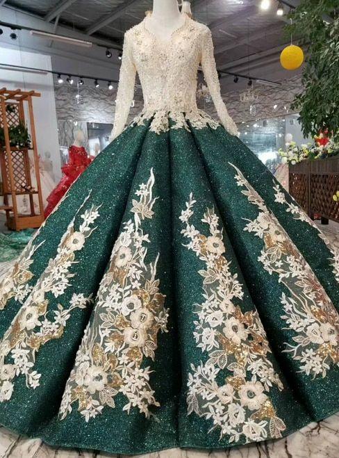 27354336fd7 Green Ball Gown Sequins V-neck Long Sleeve Appliques Wedding Dress ...