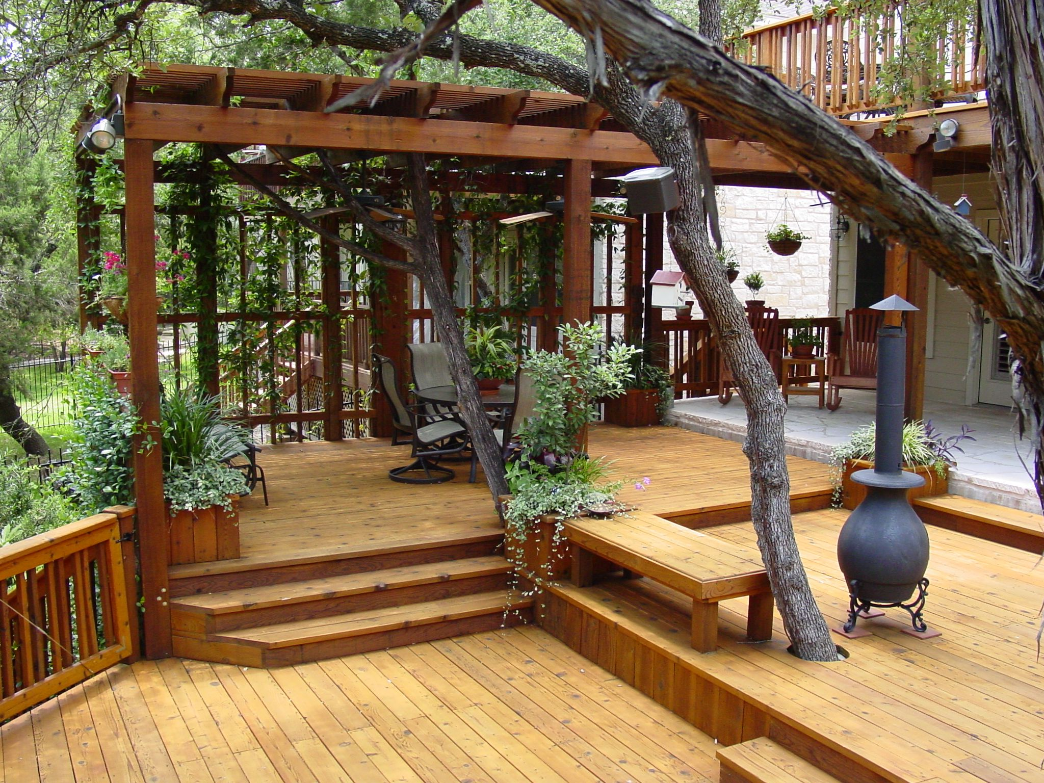Multi level deck with a pergola only problem i can see is for Hardwood outdoor decking