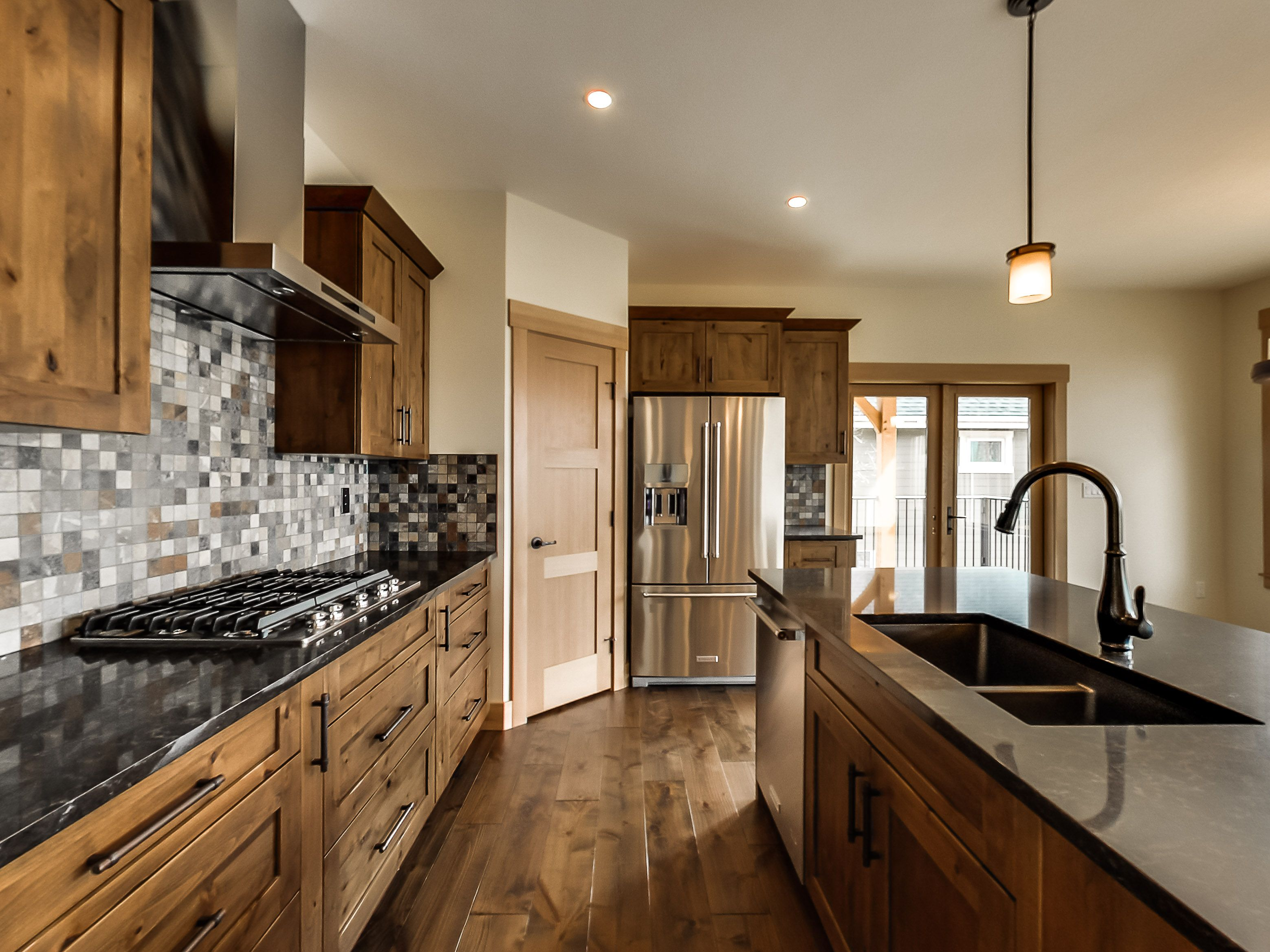 Engineered Hardwood Floors, Natural Alder Cabinets, Stainless Steel Appliances, Slate Tile, Timber Frame Details