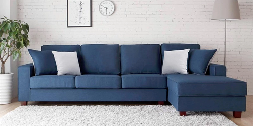 Andrea L Shape Sofa In Navy Blue Color L Shaped Sofa Furniture Design Living Room