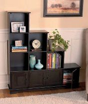 Wooden Stair Step Bookcase And Storage Console // Description Wooden  Storage Console Offers You