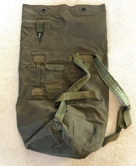 46fb4b17db army duffle bag . 80s army duffle bag . vintage US Army duffle bag ...