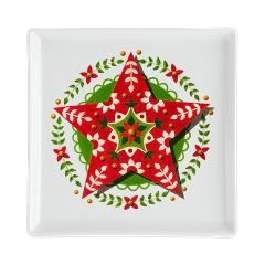 Folkloric Christmas Star Square Cocktail Plate by #PatriciaSheaDesigns