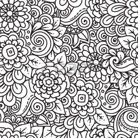 Coloriage Adulte Seamless Doodle Motif Floral Ethnique